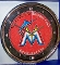 Miami Marlins Round Chrome Wall Clock
