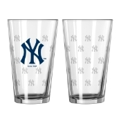 New York Yankees Satin Etched Pint Glass Set
