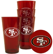 San Francisco 49ers  4 Pack - 16 oz Plastic Glass Set