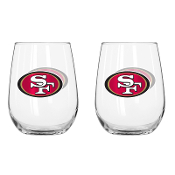 San Francisco 49ers 16 oz Curved Beverage Stemless Wine Glasses