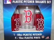 Boston Red Sox MLB Plastic 60 oz Pitcher & 4 16 oz Glasses