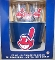 Cleveland Indians Metal Ice Bucket-4 16 oz Glasses-&-12 Coasters